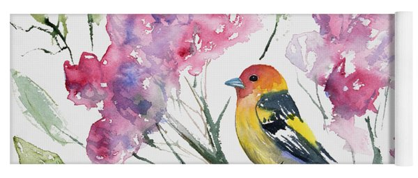 Yoga Mat featuring the painting Watercolor - Western Tanager In A Flowering Tree by Cascade Colors