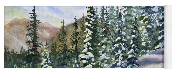 Yoga Mat featuring the painting Watercolor - Winter Snow-covered Landscape by Cascade Colors