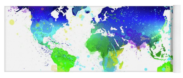 World map paint splashes yoga mats fine art america watercolor world map yoga mat gumiabroncs Gallery