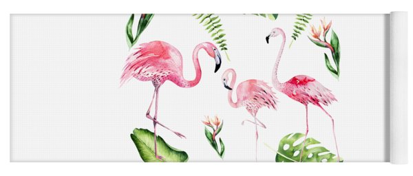 Yoga Mat featuring the painting Watercolour Flamingo Family by Georgeta Blanaru