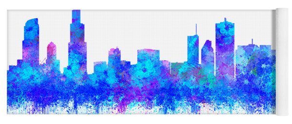 Yoga Mat featuring the painting Watercolour Splashes And Dripping Effect Chicago Skyline by Georgeta Blanaru