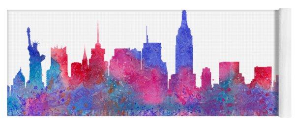 Yoga Mat featuring the digital art Watercolour Splashes New York City Skylines by Georgeta Blanaru