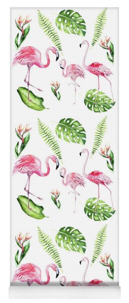 Yoga Mat featuring the painting Watercolour Tropical Beauty Flamingo Family by Georgeta Blanaru