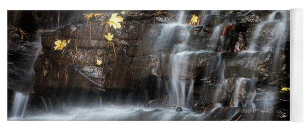 Waterfall In Autumn Sunlight Yoga Mat
