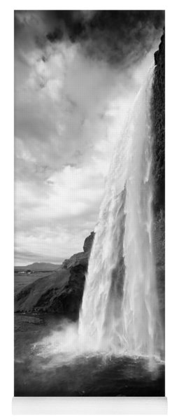 Waterfall In Iceland Black And White Yoga Mat
