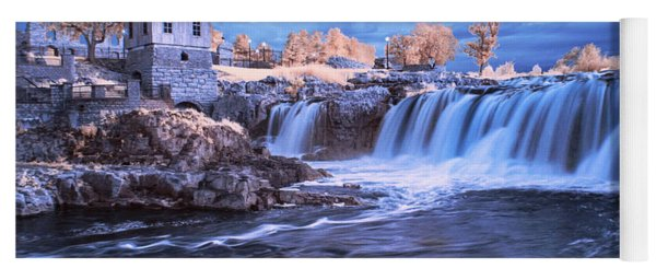 Waterfalls In Infrared At Falls Park In Sioux Falls South Dakota Yoga Mat