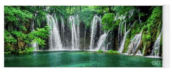 Waterfalls Panorama - Plitvice Lakes National Park Croatia Yoga Mat
