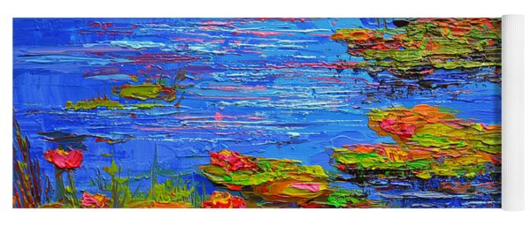 Waterlily Pond - Lily Pads In A Morning Light - Modern Impressionist Knife Palette Oil Painting Yoga Mat