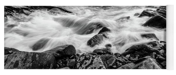 Waves Against A Rocky Shore In Bw Yoga Mat