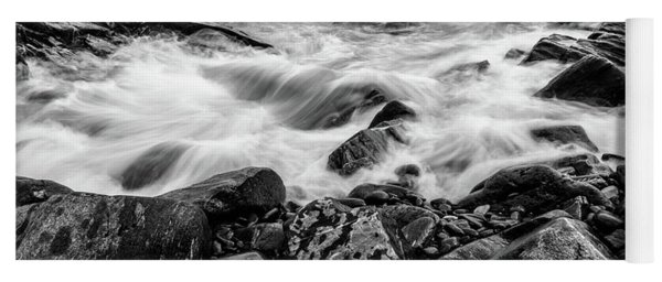 Yoga Mat featuring the photograph Waves Against A Rocky Shore In Bw by Doug Camara