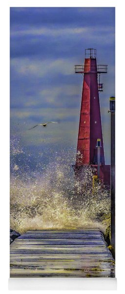 Waves At Muskegon South Breakwater Yoga Mat