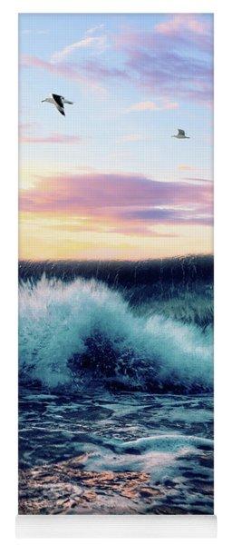 Waves Crashing At Sunset Yoga Mat