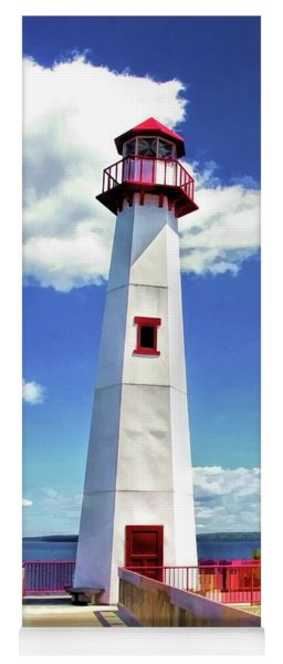 Yoga Mat featuring the painting Wawatam Lighthouse by Christopher Arndt
