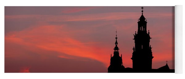 Wawel Castle And Cathedral Silhouette In Krakow Yoga Mat