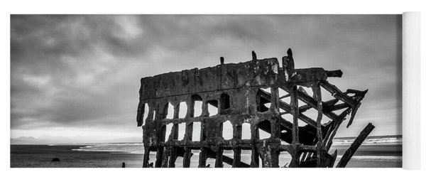 Weathered Rusting Shipwreck In Black And White Yoga Mat