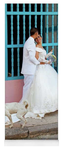 Wedding Couple With Dog Havana Cuba Yoga Mat
