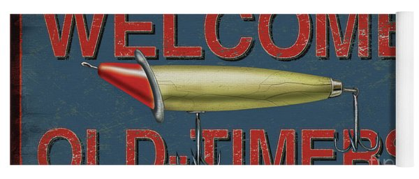 Welcome Fishing Sign Yoga Mat