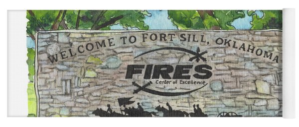Welcome Sign Fort Sill Yoga Mat