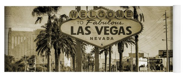 Welcome To Las Vegas Series Sepia Grunge Yoga Mat