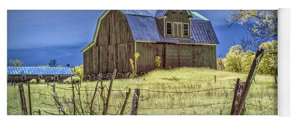 West Michigan Barn With Barb Wire Fence In Infrared Yoga Mat
