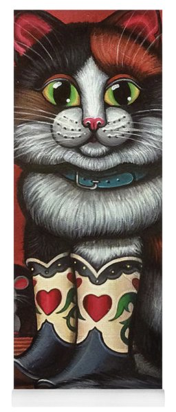 Western Boots Cat Painting Yoga Mat