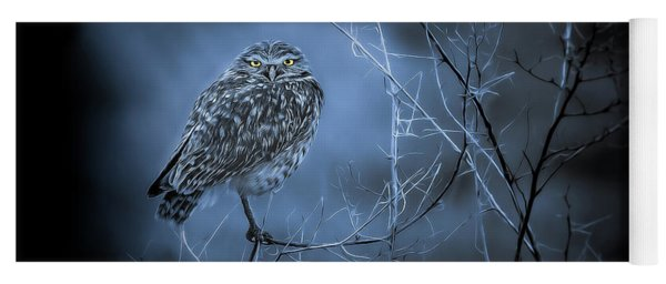 Yoga Mat featuring the photograph Western Owl Gloom by Rikk Flohr