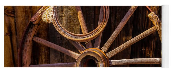 Western Rope And Wooden Wheel Yoga Mat