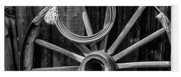 Western Rope And Wooden Wheel In Black And White Yoga Mat