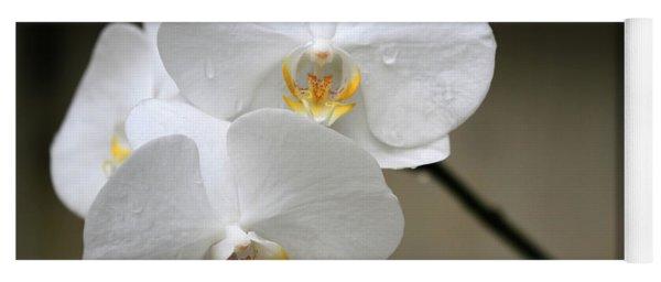 Wet White Orchids Yoga Mat