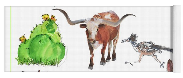 What Texas Loves, Texas Longhorn Watercolor Painting By Kmcelwaine Yoga Mat