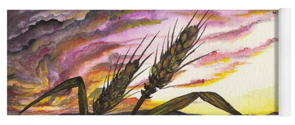 Yoga Mat featuring the painting Wheat Field by Darren Cannell