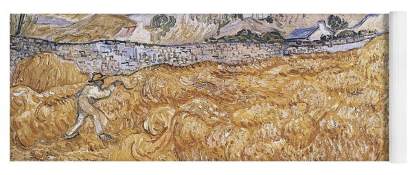 Wheat Field With Reaper Harvest In Provence Yoga Mat