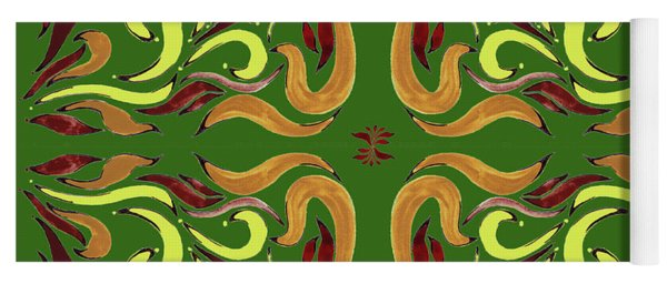 Whimsical Organic Pattern In Yellow And Green I Yoga Mat