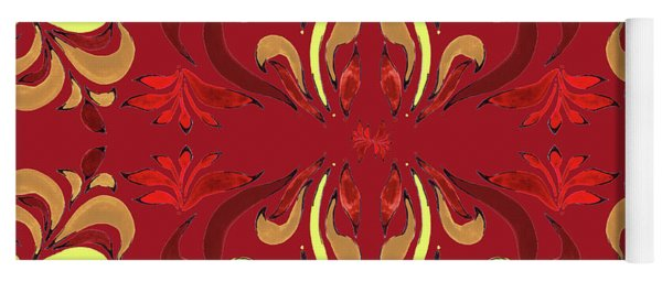 Whimsical Organic Pattern In Yellow And Red II Yoga Mat