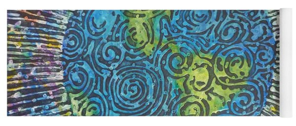 Yoga Mat featuring the painting Whirled Piece by Amelie Simmons