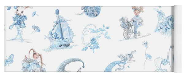 Whispering Daydreams Toile De Jouy In Blue And Brown Yoga Mat