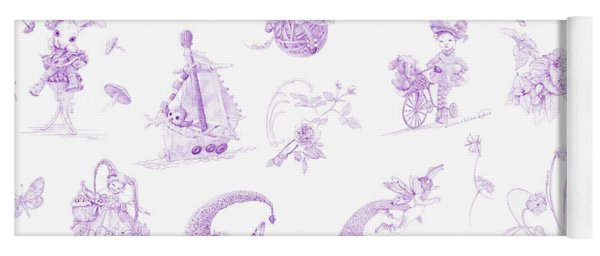 Whispering Daydreams Toile De Jouy In Lavender Yoga Mat
