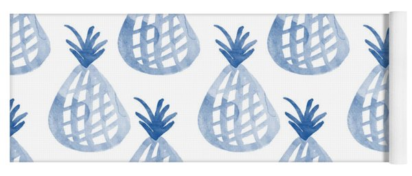 White And Blue Pineapple Party Yoga Mat
