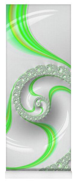 White And Green Spiral Elegant And Minimalist Yoga Mat