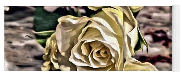 White Baby Roses Yoga Mat