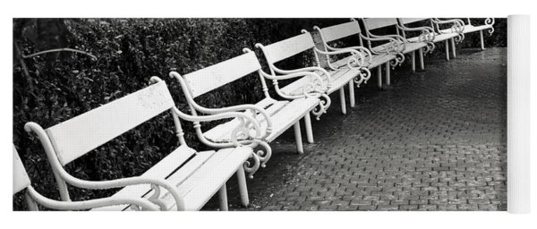 White Benches-  By Linda Wood Woods Yoga Mat