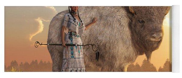 White Buffalo Calf Woman Yoga Mat