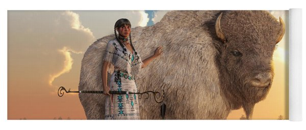 White Buffalo Calf Woman Yoga Mat