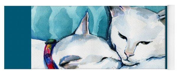White Cat Affection Yoga Mat