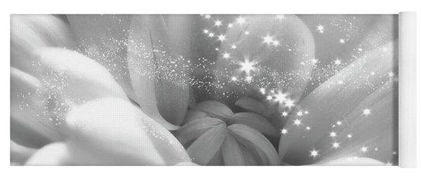 White Crysanthemum And Stars Yoga Mat
