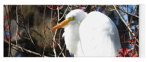 White Egret Bird Yoga Mat