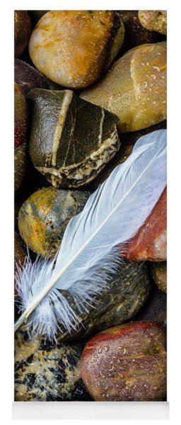 White Feather On River Stones Yoga Mat