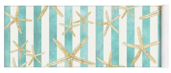 White Finger Starfish Watercolor Stripe Pattern Yoga Mat