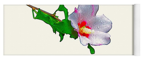 White Flower And Leaves Yoga Mat