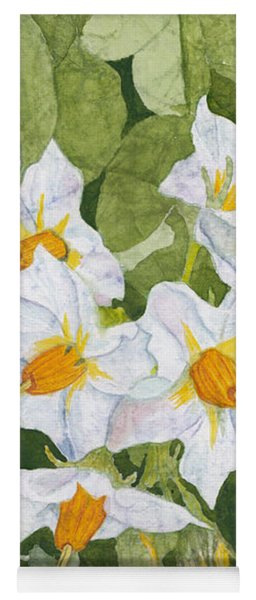 White Garden Blossoms Watercolor On Masa Paper Yoga Mat